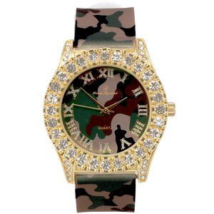 Men Gold ice out watch - Camo/Gold